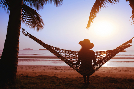 Woman relaxing on vacation.